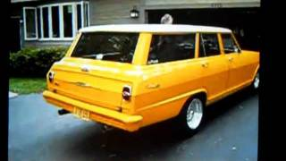 1964 CUSTOM CHEVY NOVA WAGON V/8 HEADERS 3 INCH EXHAUST CENTERLINE CORVETTE YELLOW!