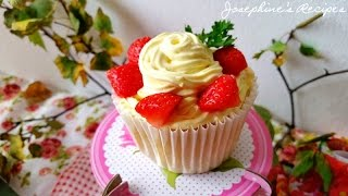 Fresh Strawberry Cupcakes 草莓海綿杯子蛋糕 Josephine's Recipes Episode 130