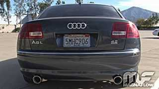 2005 audi a8 quattro with a magnaflow exhaust part #16492 learn more: http://www.magnaflow.com/02product/displayapplications.asp?partnumber=16492 subscribe t...