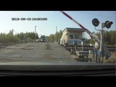 2012-08-02. А655МР77 - проехал ж/д переезд по встечке (fast)