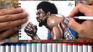Drawing technique, Joel Embiid - Philadelphia 76ers -
