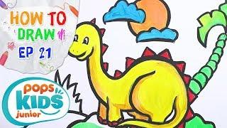 Sắc Màu Tuổi Thơ - Tập 21 - Bé Tập Vẽ Khủng Long | How To Draw And Learn Coloring A Dinosaur