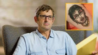 Louis Theroux reacts to tattoos of himself