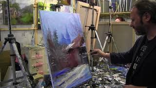 Игорь Сахаров, зимний пейзаж маслом, работа с фотоматериалом
