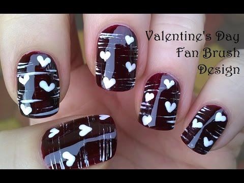 Valentines day nail art tutorial fan brush dotting tool valentines day nail art tutorial fan brush dotting tool striped heart nails sciox Gallery