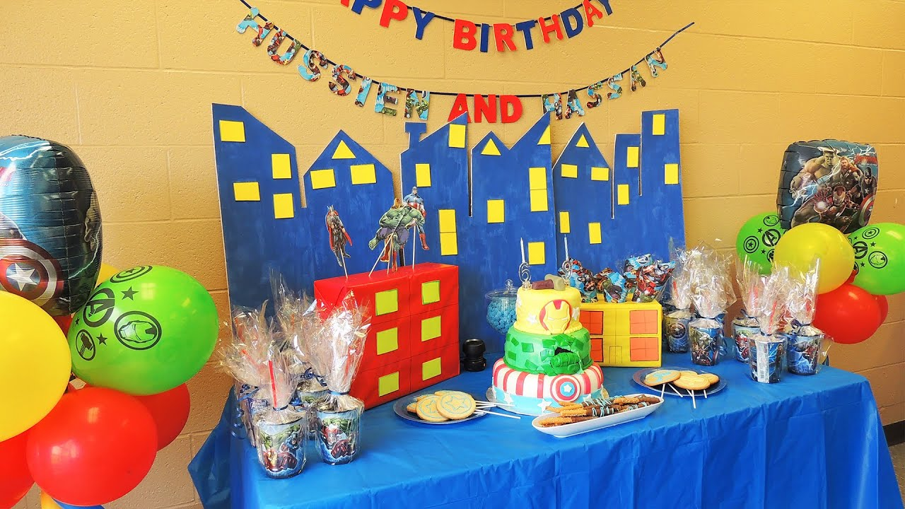 The avengers birthday theme party ideas youtube for R b party decorations
