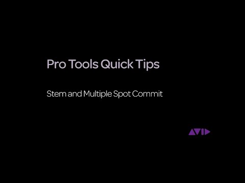 Pro Tools Quick Tips - Stem and Multiple Spot Commit