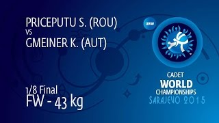 1/8 FW - 43 kg: S. PRICEPUTU (ROU) df. K. GMEINER (AUT) by FALL, 10-3