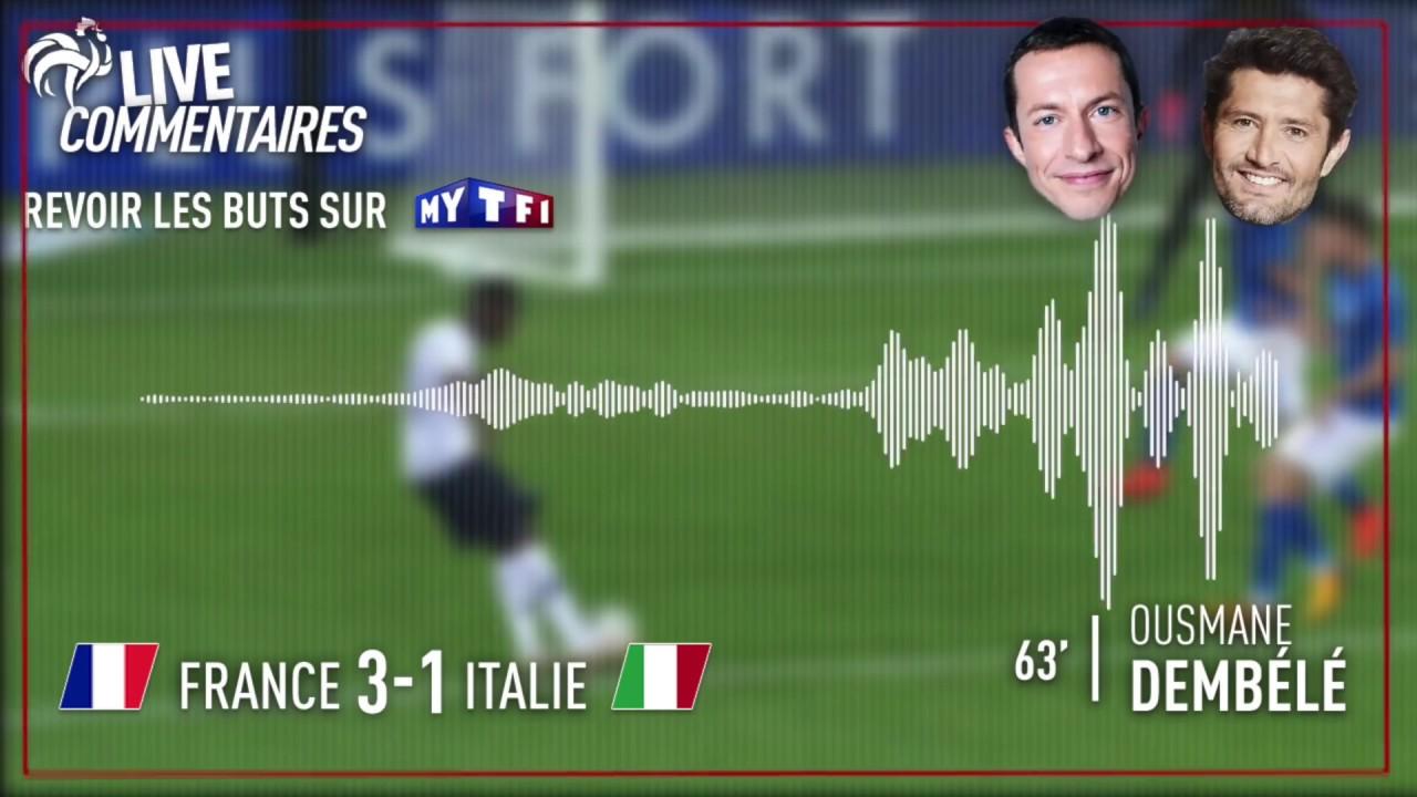 France 3-1 Italie : Le but de DINGUE de Dembélé (commentaires G. Margotton et B. Lizarazu)