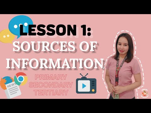 LESSON 1: SOURCES OF INFORMATION (PRIMARY, SECONDARY, TERTIARY)