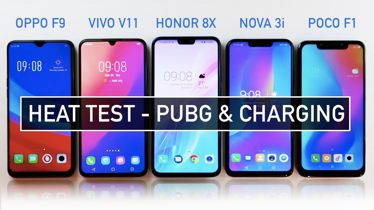 Oppo F9 / Vivo V11 / Honor 8X / Nova 3i / Poco F1 HEAT Test PUBG & Battery  Charging | Zeibiz
