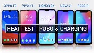 Oppo F9 / Vivo V11 / Honor 8X / Nova 3i / Poco F1 HEAT Test PUBG & Battery Charging | Zeibiz