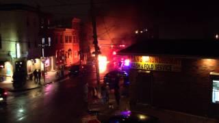 Car fire in Fishtown, Philadelphia