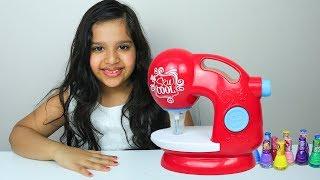 شفا تلعب لعبة ماكينة الخياطة  shfa pretend play sewing machine