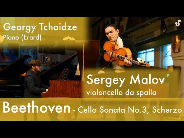 Beethoven - Cello Sonata No. 3 in A major, Op. 69 Scherzo  (Malov, Tchaidze)