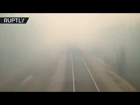 Ужас! Поезд мчит через горящий лес
