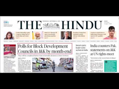 The Hindu Analysis + GS Static Part 11th September 2019