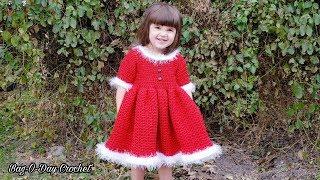 How To Crochet - A Toddler Christmas Dress | Santa's Little Helper | BAG O DAY CROCHET TUTORIAL #541