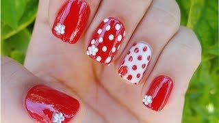 red and white polka dot nail art unhas decoradas de bolinhas