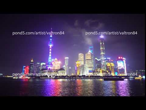 Night view of downtown Shanghai called the Bund, located on the embankment of the river Huangpu