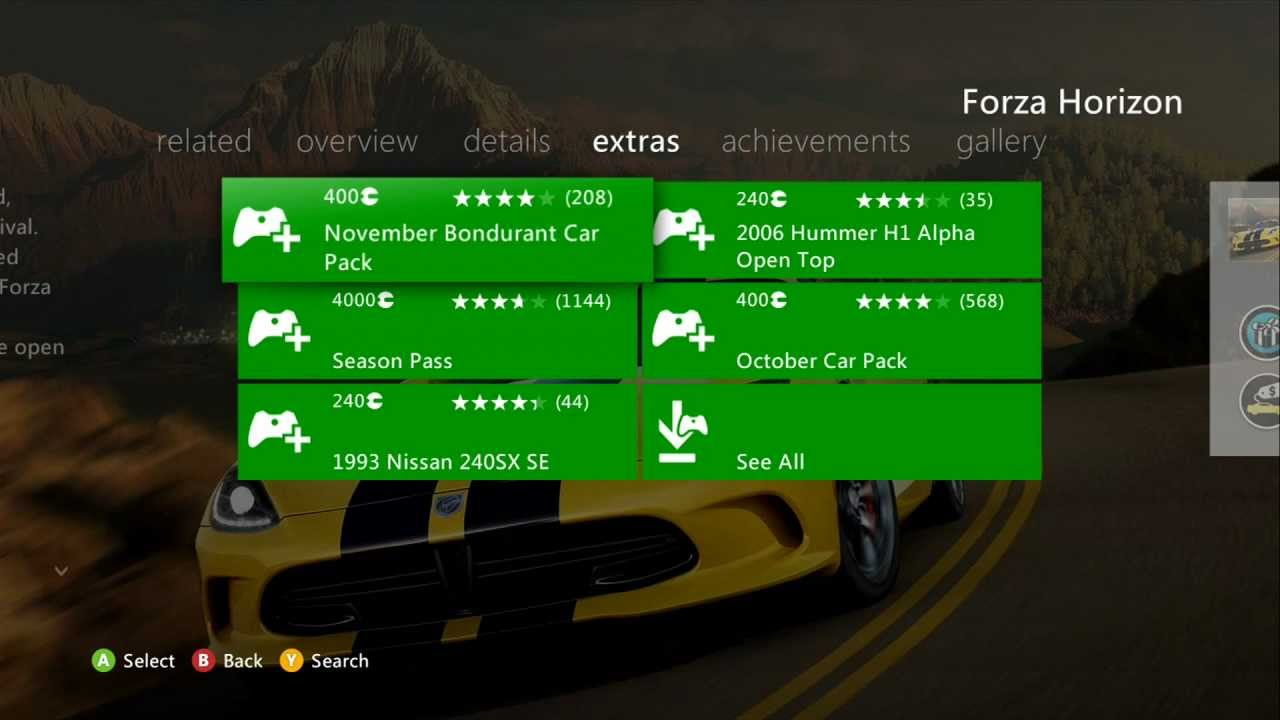 Downloading New Cars for Forza Horizon on the Xbox Live Marketplace