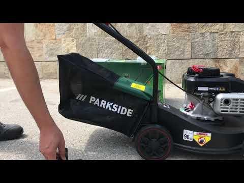 Parkside PBM132 Petrol Lawnmower Lidl Rasenmäher - Grasmaaier - tondeuse thermique. First start.