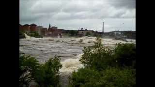 Androscoggin Great Falls after flooding. Lewiston Auburn Maine 06-2012