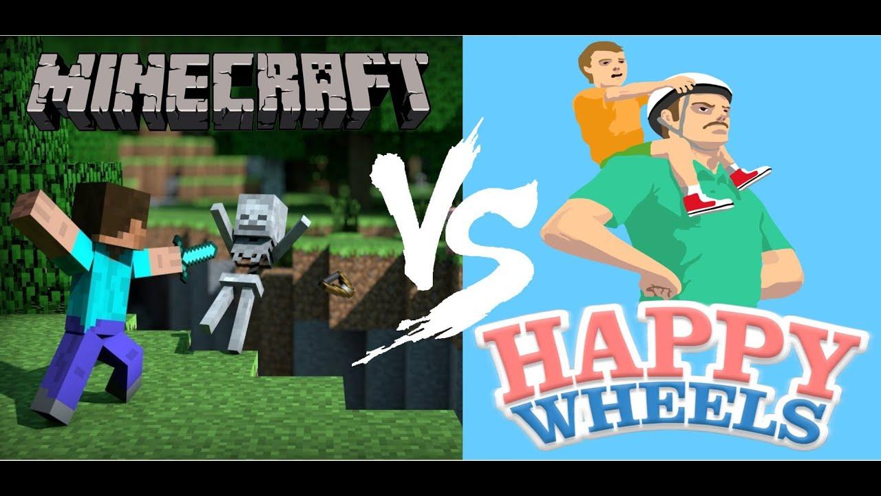 Minecraft Vs Happy Wheels Youtube