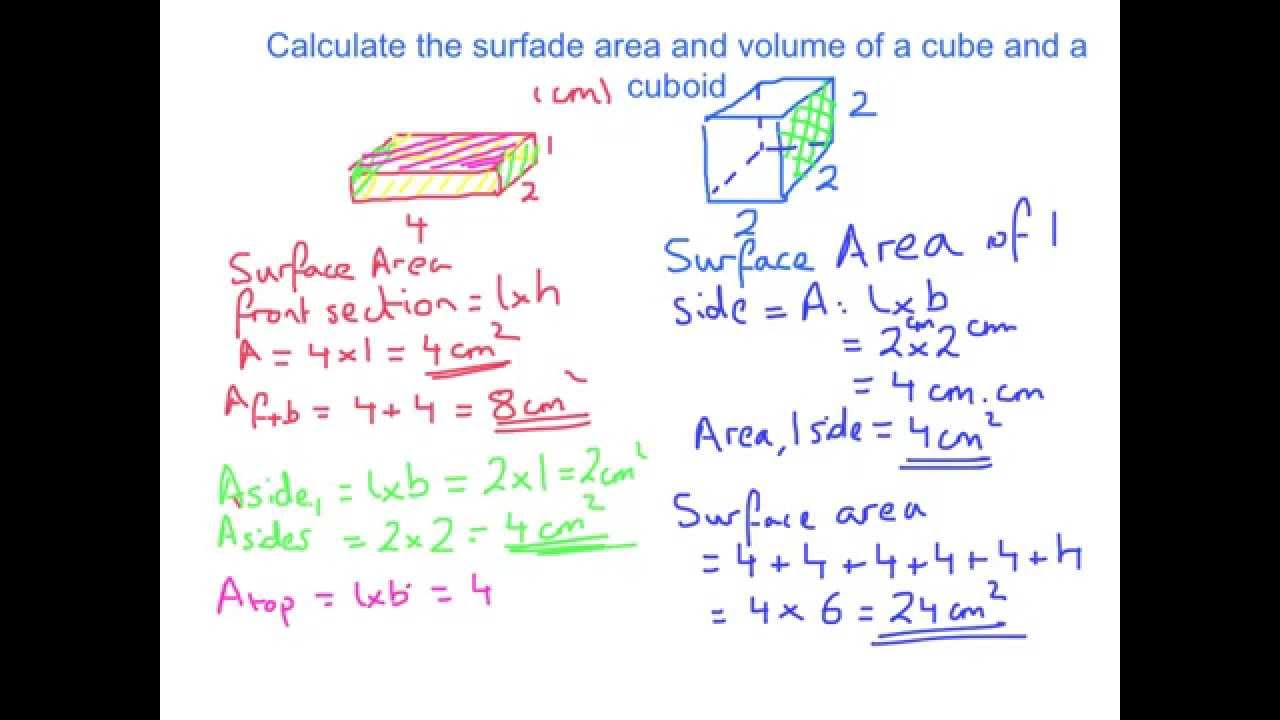 Year 8, 9 Calculate Volume And Surface Area For A Cube And Cuboid