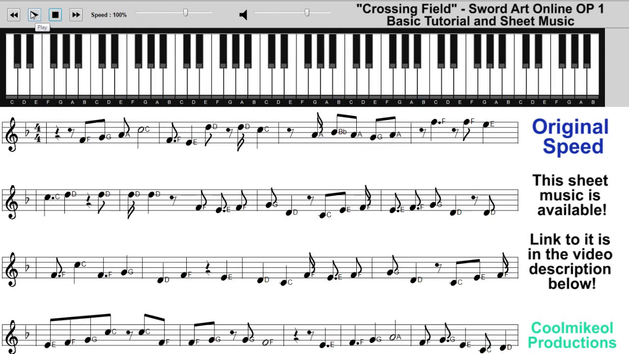 Sword Art Online - Crossing Field Piano Tutorial - YouTube