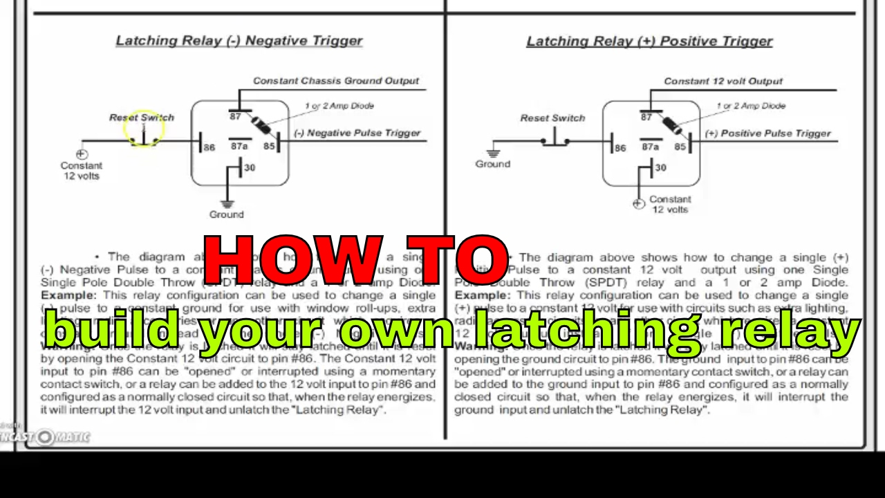 12 Volt Relay Wiring Diagram 94 Vw Jetta Parts How To Convert A Momentary Input Latched Output Youtube