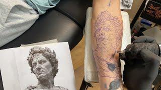 LIVE TATTOO: JULIUS CAESAR (Statue Portrait)