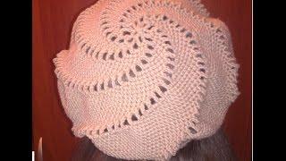 Как связать берет крючком+женский берет связанный крючком.Knitting lessons №2.Женский берет крючком