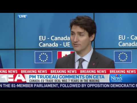 Justin Trudeau & European leaders speak at CETA signing news conference in Brussels