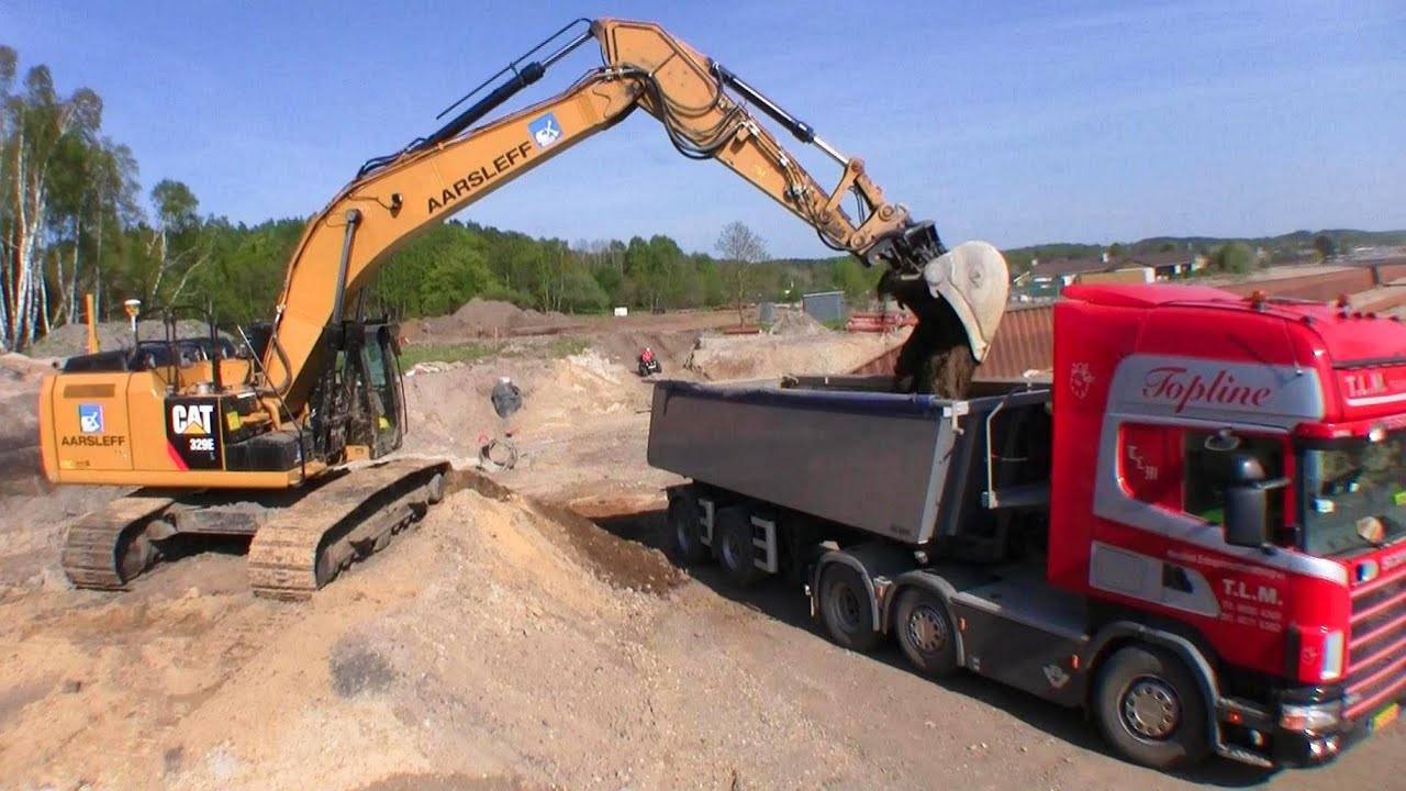 Cat 329e Excavator With 3d Gps Loading Scania V8 Semi