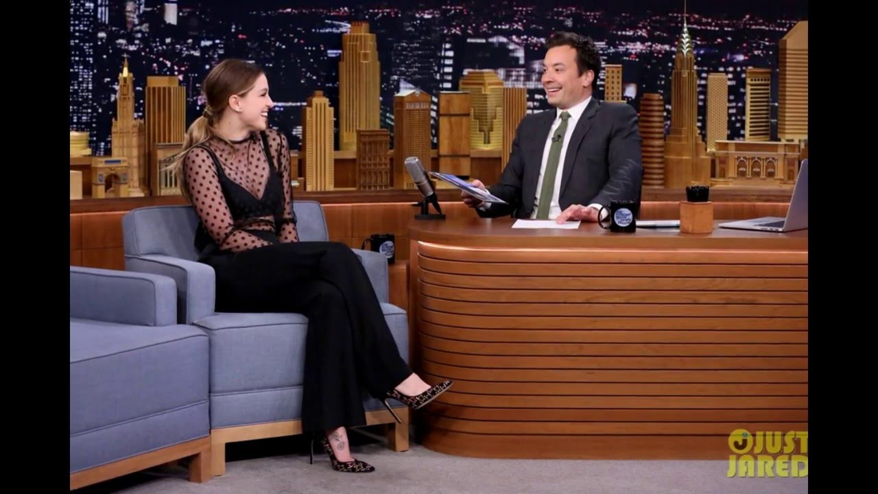 Melissa Benoist Tries To Teach Jimmy Fallon The Art Of Cup Stacking Youtube