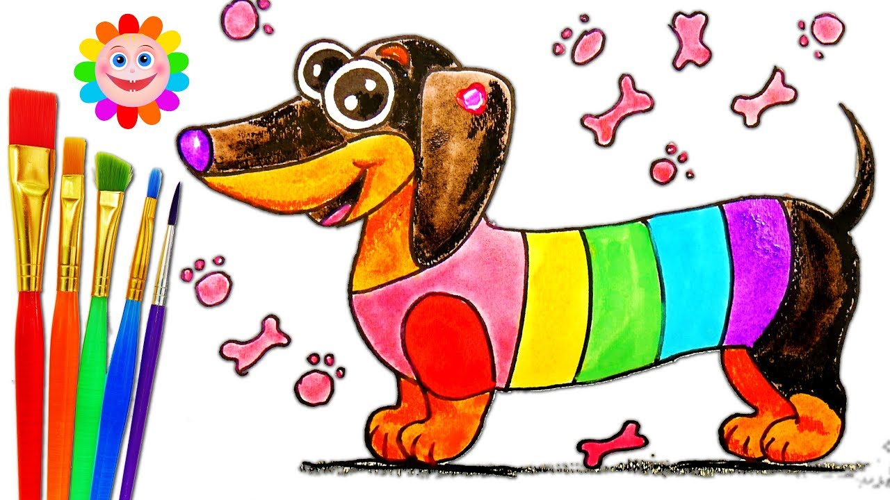 coloring page rainbow dog for kids how to draw fun art colors for