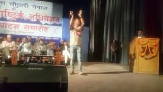 Singer Badri Pangeni  with PM Kp oli question through song!! Dohori song