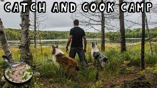 Overnight Catch and Cook Canoe Camp with My Dogs