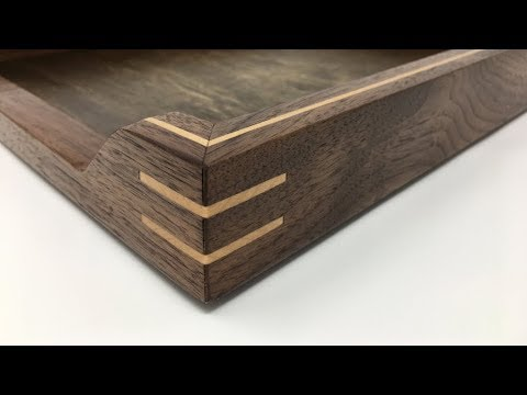 Hand Crafted Walnut Paper Tray with Maple Inlay