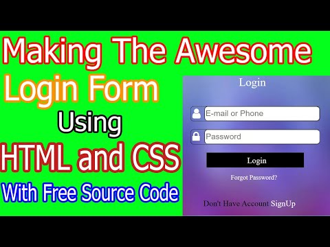 Making The Awesome Login Form Using HTML And CSS.|||