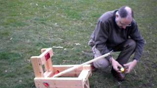Loading And Shooting My 'onager' Torsion Catapult