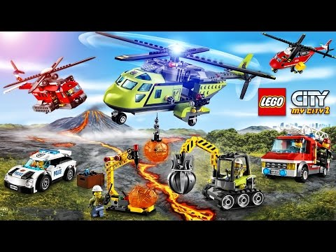 LEGO Police  Volcano  NEW: Police Car  Fire Truck  Fire Helicopter