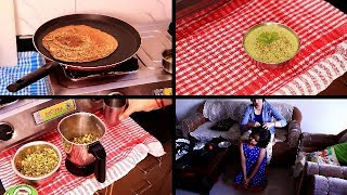 INDIAN MOM MORNING ROUTINE | Making Indian Breakfast | Moong dal Cheela, Green Chutney