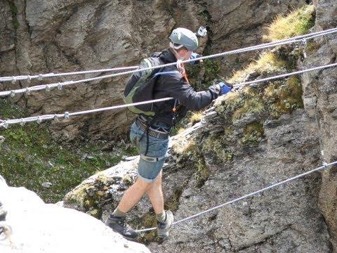 via ferrata, roc de vent, wire/cable bridge crossing, headcam