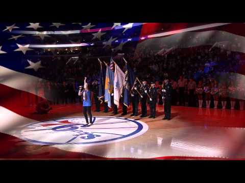 mara justine national anthem at the 76ers