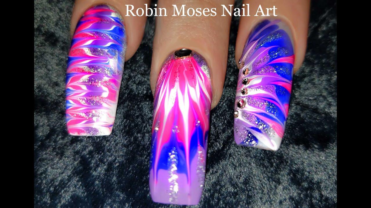 No Water Needed - Lavender Diva DIY Drag Marble nail art Tutorial ...