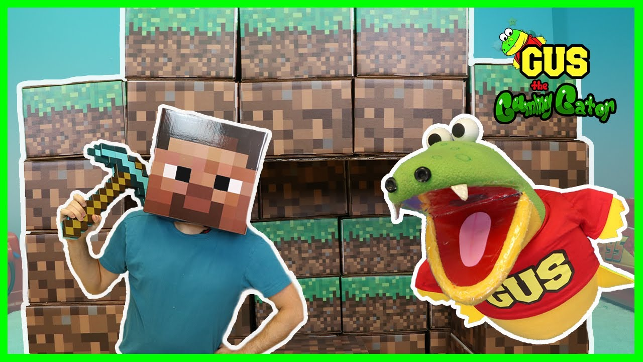 Minecraft In Real Life Steve Enderman Creeper and Gus the Gummy Gator