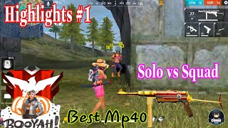 Free Fire Highlights #1   Solo Vs Squad Rank Vietnam   Best Mp40