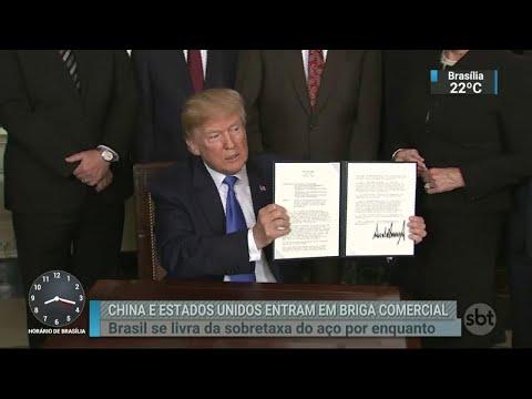 Sobretaxas impostos pelos EUA ao aço e alumínio começam a valer | SBT Brasil (23/03/18)